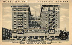 Hotel McCurdy Evansville, Indiana Postcard