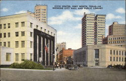 Civic Center showing City Hall and Public Library Postcard