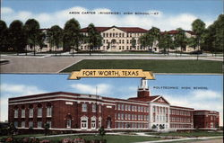 Amon Carter (Riverside) and Polytechnic High Schools Postcard
