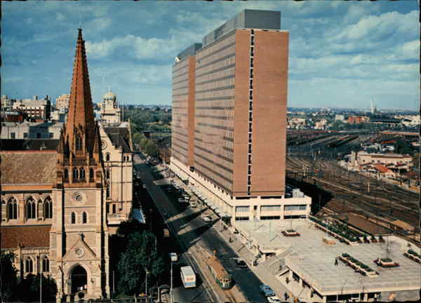 Looking to St. Paul's and Princes Gate Building Melbourne Australia