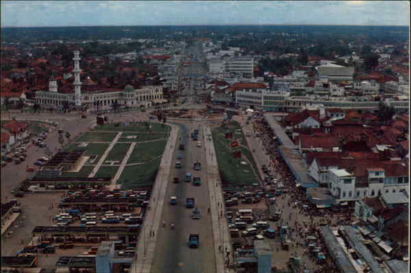 Aerial View of City Kota Palembang Indonesia Southeast Asia