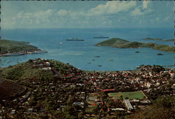 The harbor and town of Charlotte Amalie, seen from the top of the island Virgin Islands