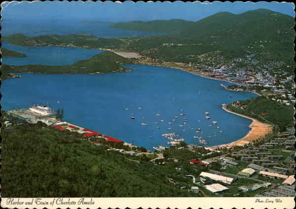 Harbor and Town - St. Thomas Charlotte Amalie Virgin Islands