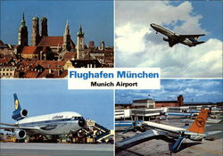 Airport and View of City Postcard