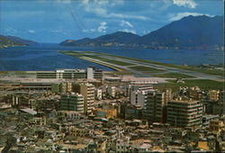 Aerial View of Kai Tak Airport Postcard