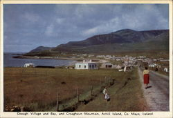 View of Village and Bay and Croaghaun Mountail, Achill Island