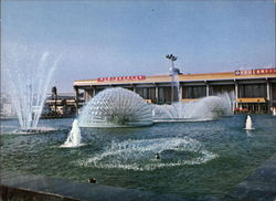 A panorama of the fountain in the front ground of the International Airport of Taipei, Taiwan Postcard