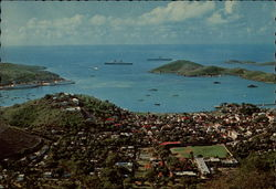 The harbor and town of Charlotte Amalie, seen from the top of the island Postcard