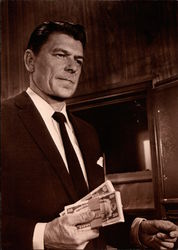 Portrait of Ronald Reagan Holding Money