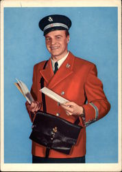 Smiling Mailman in Red Jacket