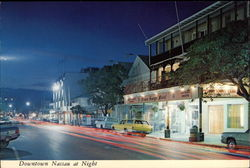 Downtown Nassau at Night Postcard