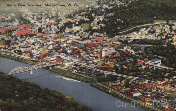 Aerial View of Downtown Morgantown West Virginia