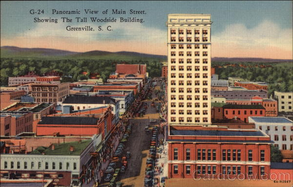 Panoramic View of Main Street, Showing the Tall Woodside Building Greenville South Carolina