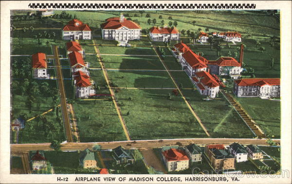 Airplane View of Madison College Harrisonburgh Virginia