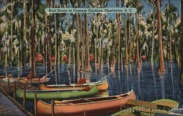Boat Scene in Cypress Gardens Charleston South Carolina