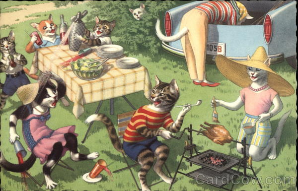 Mischievous Kittens on a Picnic Cats