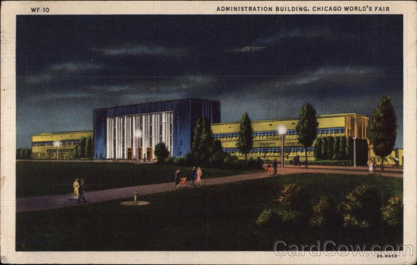 Administration Building by Night Chicago Illinois 1933 Chicago World Fair
