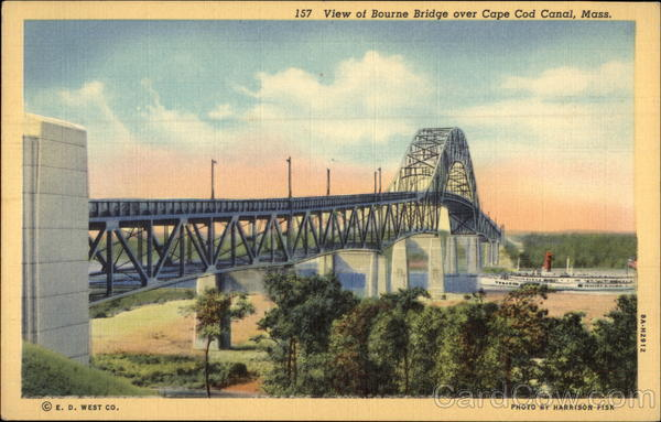 View of Bourne Bridge Over Cape Cod Canal, Mass Massachusetts
