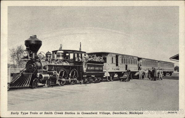 Early Type Train at Smith Creek Station in Greenfield Village Dearborn Michigan