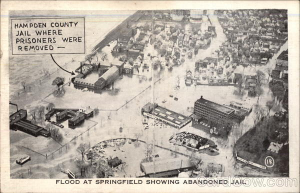 Flood at Springfield Showing Abandoned Jail Massachusetts
