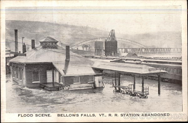 Flood Scene, R.R. Station abandoned Bellows Falls Vermont
