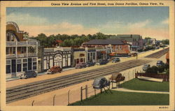Ocean View Avenue and First Street, from Dance Pavillion Postcard