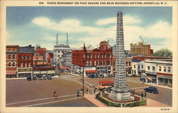 Vance Monument on Pack Square and Main Business Section