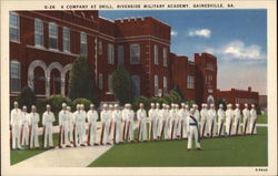Riverside Miltary Academy - Company at Drill Postcard