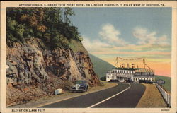 Approaching S. S. Grand View Point Hotel on Lincoln Highway