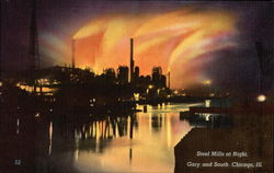 Steel Mills at Night, Gary and South Postcard