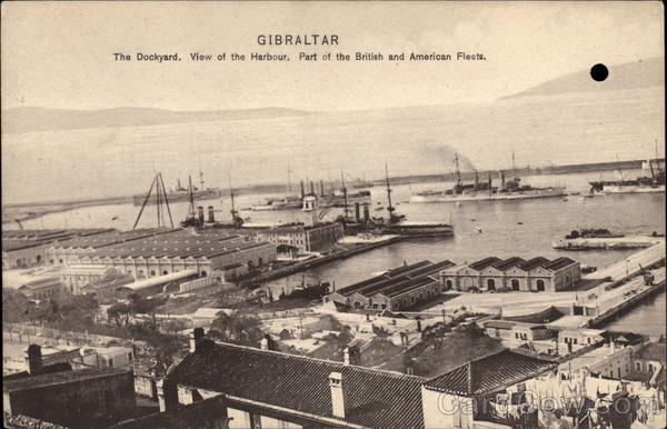 Dockyard and View of Harbour Gibraltar Spain