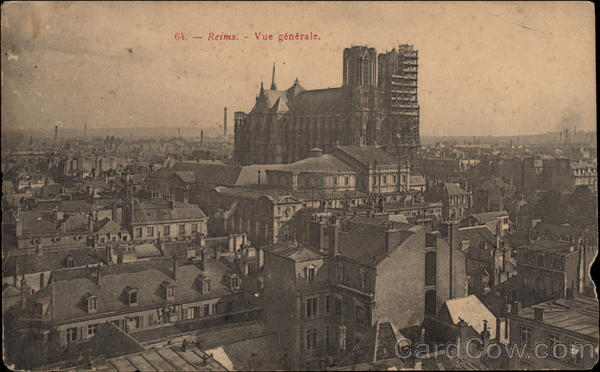 View of City and Cathedral Reims France
