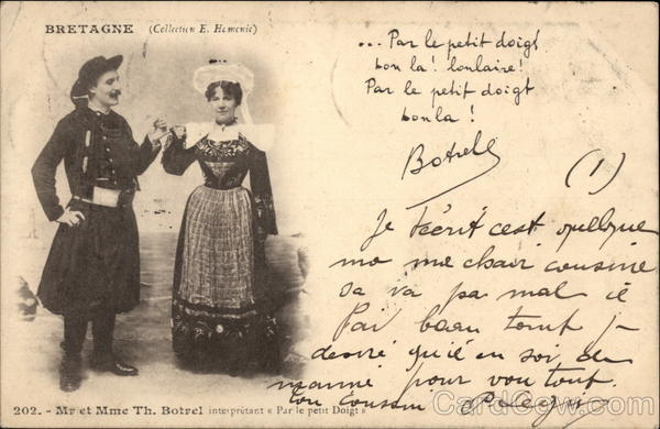 Mr. et Mme. Th. Botrel - Traditional Costume, Brittany France