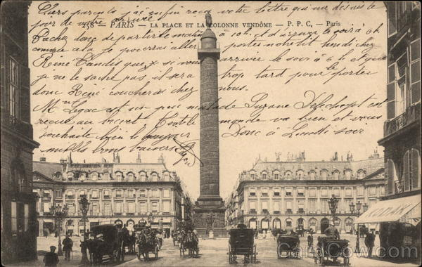La Place et La Colonne Vendome Paris France