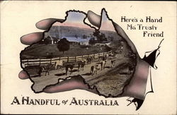 A Handful of Australia - Cattle on Road Postcard