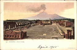 View of Ruins and Mount Vesuvius Postcard