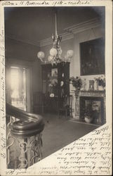 Interior of French Home - Chandelier, Fireplace, China Cabinet