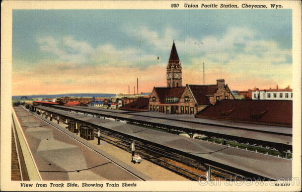 Union Pacific Station, View From Track Side, Showing Train Sheds Cheyenne Wyoming