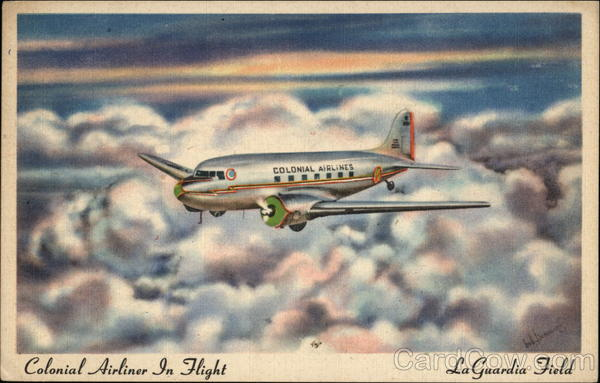Colonial Airliner in Flight - LaGuardia Field Aircraft