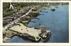 Aerial View of St. Ignace, Mich., State Ferry Dock in Foreground