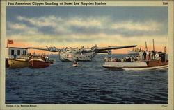 Pan American Clipper Landing at Base Postcard