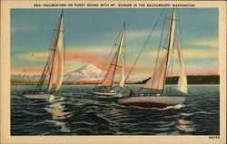 Sailboating on Puget Sound With Mt. Rainier in the Background, Washington