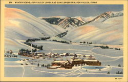 Winter Scene, Sun Valley Lodge and Challenger Inn