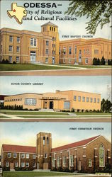 First Baptist Church, Ector County Library and First Christian Church Postcard
