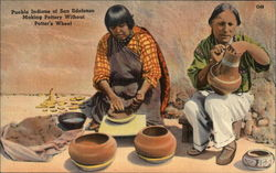 Pueblo Indians of San Ildefonso Making Pottery Without Potter's Wheel