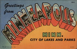 Greetings from Minneapolis, Minnesota - City of Lakes & Parks Postcard