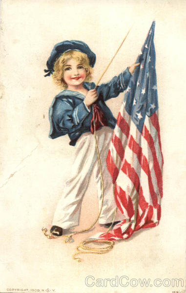 Cute Girl with US Flag, Sailor Suit Patriotic Girls