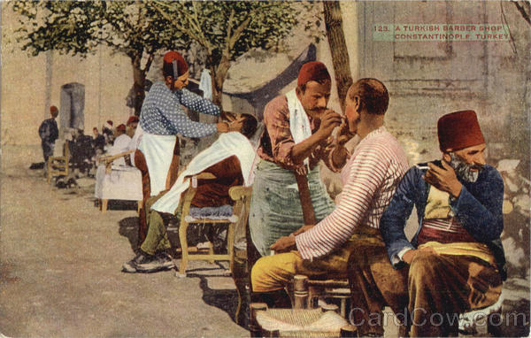 A Turkish Barber Shop Constantinople Turkey Greece, Turkey, Balkan States