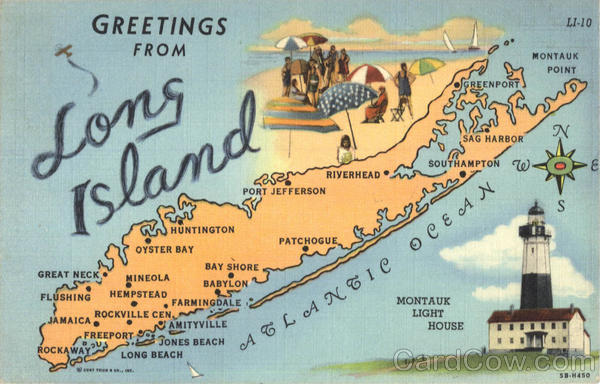 Greetings From Long Island Map New York Lighthouses
