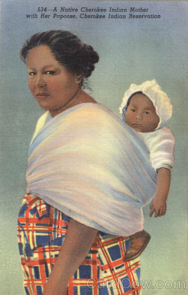 A Native Cherokee Indian Mother with Her Papoose Native Americana